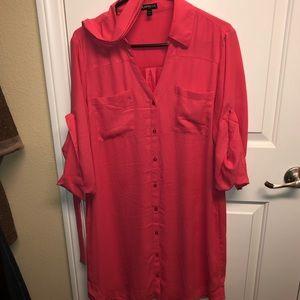 Express silky shirt dress
